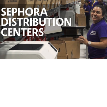 TEXT: Sephora Distribution Centers. IMAGE: A smiling woman working in a Sephora warehouse, packing a box.