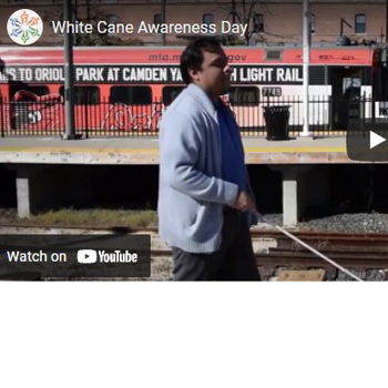 A screenshot of a YouTube video for White Cane Awareness Day, which is October 15.
