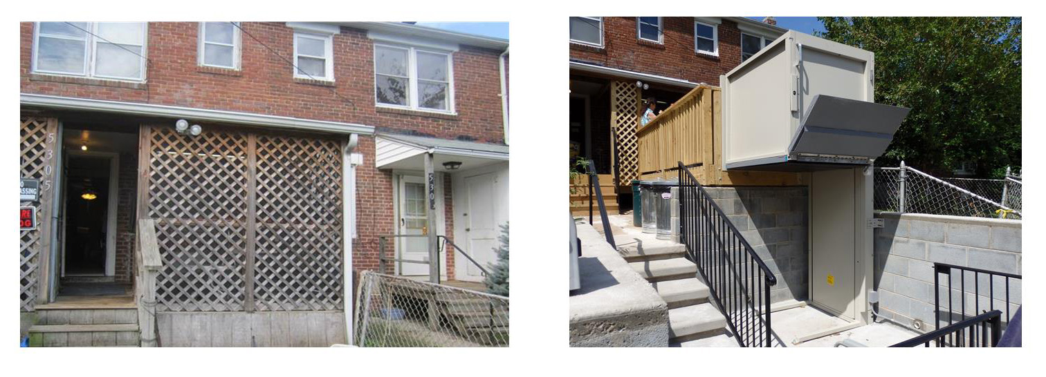 A brick row home with a wooden back porch. After: the same home with a new concrete porch and chair lift.