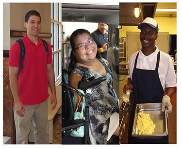 Three images: 1 man standing in a hall with a backpack, a young woman in an adapted van, a man cooking in a restaurant kitchen.