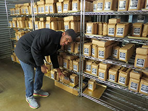 A young man puts bags of Zeke's Coffee on shelves.