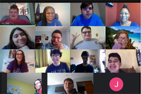 A screenshot of twelve Pathways students and two coordinators, in a virtual meeting.