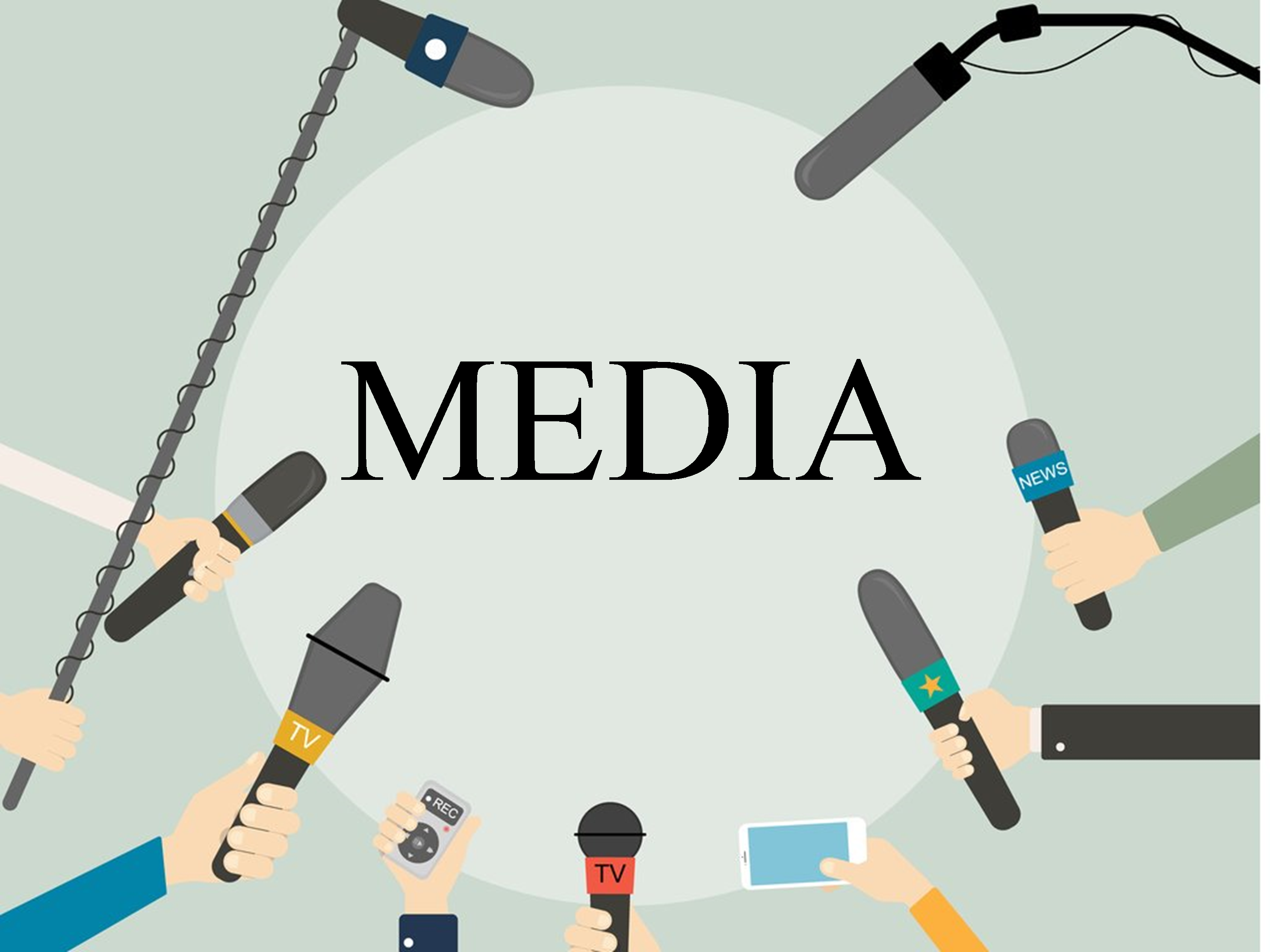 Media, image of hands holding microphones and cell phones.