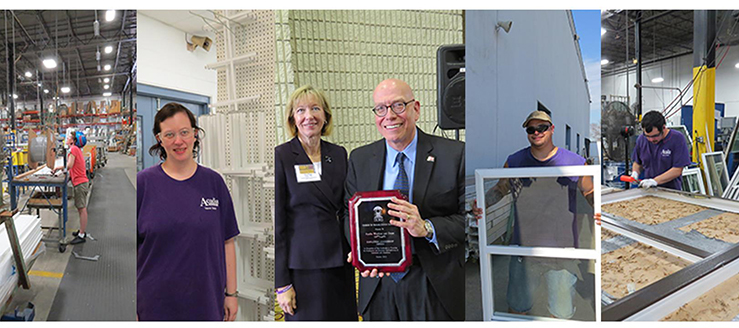Montage of people working in a window factory. Center photo: Director Sue Page giving an award to manager Neill Christopher.