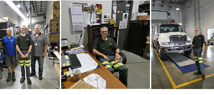 3 photos: Andy with Fleet Manager, Wayne Sonnenberg, Andy, and Shop Supervisor, Bob Miller, at his desk, and next to a truck.