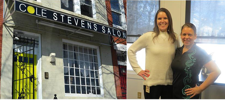 2 PHOTOS: Outside or a Cole Stevens Salon and two women standing togehter and smiling.